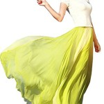 Collager Womens Blending Chiffon Retro Long Maxi Skirt Vintage Dress