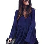 Bluetime Women's Crewneck Button Boho Long Flare Sleeve Pleated Flowy Tops