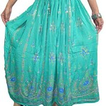 Women's Bohemian Skirt Teal Lehenga Sequin Peasant Skirts Beach Boho Chic