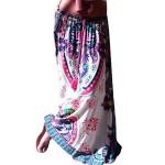 Weixinbuy Women Vintage Boho Floral Maxi Skirt Beach Long Casual Skirt Dress