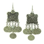 SUNSCSC Silver Coin Earrings Beach Bohemian Ethnic Jewelry Belly Dance Accessory