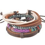 MJartoria Unisex PU Leather Hemp Cords Beaded Multi Color Strands Adjustable Wrap Bracelets Set of 4