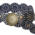 3 1/2″ (90 mm) Wide Ladies Wide Boho Disc Concho Leather Belt