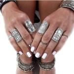 JoJo & Lin Vintage Boho Style Ring Set in Antique Silver 4pcs/set