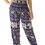 Bangkokpants Women's Yoga Pants Elephant design One Size Dark Purple