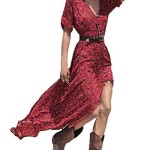 ZANZEA Women's Sexy V-neck Short Sleeve Boho Floral Printed Split Hem Maxi Dress