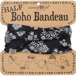 Natural Life Half Boho Bandeau Black with Cream Floral