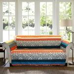 Lush Decor Boho Stripe Slipcover/Furniture Protector for Loveseat, Turquoise/Tangerine