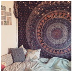 Popular Handicrafts Hippie Mandala Bohemian Psychedelic Intricate Floral Design Indian Bedspread Magical Thinking Tapestry 84×90 Inches,(215x230cms) Blue