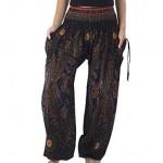 Lannaclothesdesign Women's Smocked Boho Flowers Eye Yoga Harem Pants