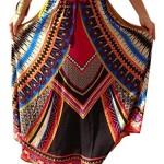 Tailloday Women Vintage Boho Casual Geo Folk Print Maxi Long Beach Skirt Dress