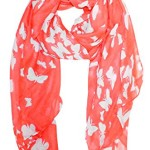 Peach Couture Lightweight Fabric Colorful Pretty Butterfly Print Fashion Scarf