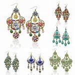 Long Retro Copper Peacock Flower Pattern Crystal Gem Hook Eardrop Dangle Earrings