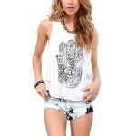 EFINNY Women Casual Boho Sleeveless Vest Shirt Back Cut Blouse Crop Top Tank