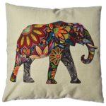 Generic Linen Cute Elephant Cotton Decorative Throw Pillow Case Cushion Cover, 18″ x 18″