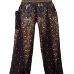 Bangkokpants Women's Yoga Pants Boho Peacock Design Luxury Black US Size 0-12