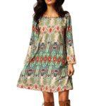 EFINNY Women Bohemian Long Sleeve Loose Tunic Beach Dress