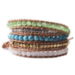 TQS™Hand-woven Leather Natural Opal Turquoise Stone Five Wrap Beaded Bracelet Mother's Day Gift