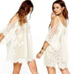 GBSELL Vintage Hippie Boho People Embroidered Floral Lace Crochet Mini Dress