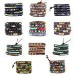 Womens Simulated Gemstones Beaded Leather Wrap Around Bracelet