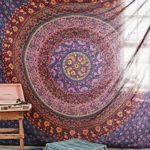 Large Hippie Tapestry, Hippy Mandala Bohemian Tapestries, Indian Dorm Decor, Psychedelic Tapestry Wall Hanging Ethnic Decorative Urban Tapestry (90×90 inches) (Multi Color)