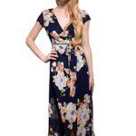 Wink Gal Women's Bohemian Deep V Neck Wrap Floral Print Maxi Long Dress
