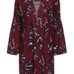 ROMWE Women's Loose Long Sleeve Keyhole Flowery Floral Beach Dress