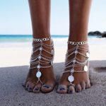 Zhenhui Boho Vintage Silver Tone Gold Tone Coin Blessing Symbol Tassel Indian Anklets Foot Jewelry 2 Pcs