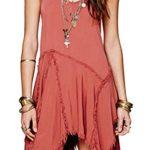 R.Vivimos® Women Spaghetti Straps Asymmetrical Hem Sexy Short Sun Dress