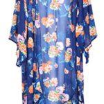 Womens Loose Sheer Floral Print Lightweight Chiffon Kimono Cardigan