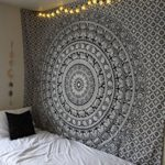 JaipurHandloom black & white Elephant Mandala Hippie Tapestry Indian Traditional Throw Beach Throw Wall Art College Dorm Bohemian Wall Hanging Boho Twin Bedspread (Black & White )