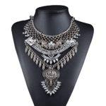 Fashion Vintage Crystal Zinc Alloy Big Pendant Bib Chain Statement Necklace for Women