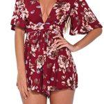 Lanzom® Women's Red Boho V Neck Floral Print Romper Jumpsuit with Belt