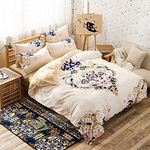 Hughapy 174 Cotton Flower Boho Stripe Bedding Sets Jaipur Bed