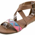 Orly Shoes Women's Tribal Stitch One Strap Boho Criss Cross Sandal