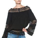 Women's Crocheted Boat Neck Bohemian Vintage Inspired Wide Sleeve Peasant Blouse