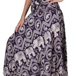 Bangkokpants Women's Long Hippie Skirts Elephant Dark Purple US Size 0-12