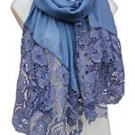 Terra Nomad Women's Long Silky Scarf with Lace Detail