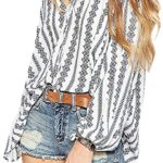 Sexy Boho Style Bishop Tied V Neck Chiffon Smock Blouse Shirt Top White