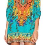 HIMONE Women Bohemian Neck Tie Vintage Printed Ethnic Style Summer Shift Dress