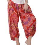 LALUNESSE Women's Bohemian Elastic Waist Loose Wide leg Ninth Harem Pants