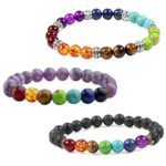 Areke Mens Womens Unisex 7 Chakra Stone Bracelets Crystal Reiki Healing Balancing Round Energy Beads
