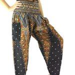 Bangkokpants Women's Yoga Boho Peacock Design Luxury Black Us Size 14-22