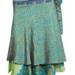 Boho Chic Short Wraps Short Green Modern Print Two Layer Reversible Silk Sari Skirts