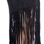 HKR Collections Women's Boho Chic Mid Length Fitted Fringe Skirt