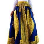 Lovezesent Women's African Printed Pleated Maxi Skirt High Waist A Line Dress