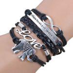 Jiayiqi Jewelry Fashion Infinity Love Cute Elephant Multilayer Handcraft Leather Bracelet Gift Idea