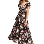 Milumia Women's Deep V-Neck Floral Party Beach Swing Wrap Maxi Dress