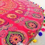 NANDNANDINI-beautiful multi colour beach throw roud tapestry Indian Mandala Round Roundie Beach Throw Tapestry Hippy Boho Gypsy Cotton Tablecloth Beach Towel WITH COLOUR FUL POM POM BORDER