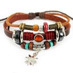 Bluegrass Charm Silvery Flower Pendant Brown Braided Rope Leather Bracelet